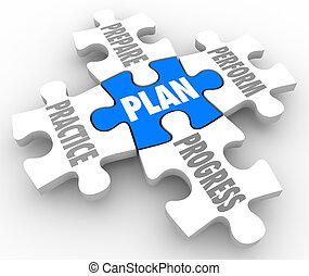 życie, przygotowywać, sprawować, zagadka, praktyka, kawałki, kariera, praca, powieść się, plan, postęp
