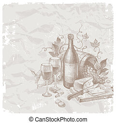 życie, rocznik wina, pokarmy, wektor, wciąż, wino