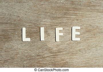 życie, słowo, tło, alfabet, drewno, litera