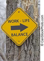 życie, to, praca, znak, droga, waga