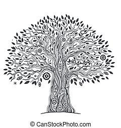 życie, unikalny, drzewo, etniczny