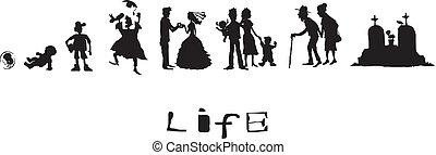 życie, urodzony, do, śmierć