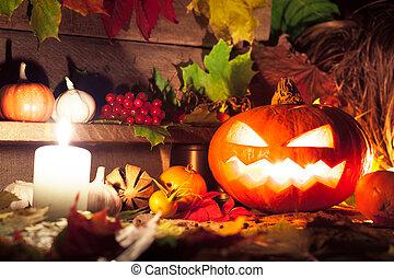 życie, wciąż, halloween, dynie