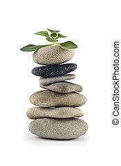 życie, -, zielony, zrównoważony, kamyk, wieża