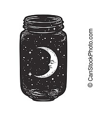 życzenie, słój, gwiazdy, księżyc