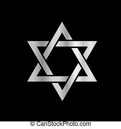 żydowska gwiazda, srebro, david-