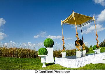 żydowski, ceremonia, na wolnym powietrzu, ślub