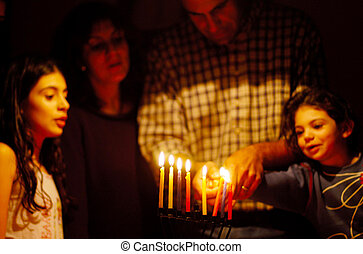 żydowski, ferie, hanukkah