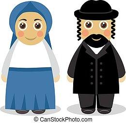 żydowski, para, ludzie