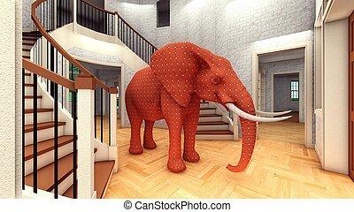 żyjący, 3d, przedstawienie, pokój, słoń