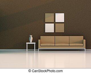 żyjący, brązowy, nowoczesny, pokój