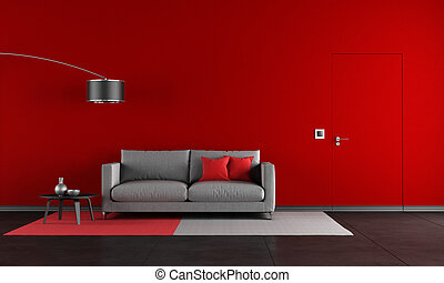 żyjący, czarnoskóry, pokój, czerwony