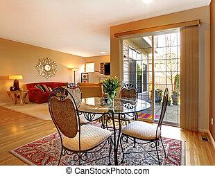 żyjący, drzwi, jadalny, room., wielki, elegancki, stół