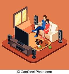 żyjący, isometric, pojęcie, pokój, rodzina, oglądając, ludzie, tv., 3d