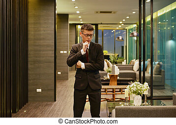 żyjący, izba, pokój, handlowy, myślenie, nowoczesny, luksus, asian obsadzają