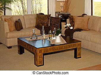 żyjący, kawa, pokój, leżanka, umieszczenie stół