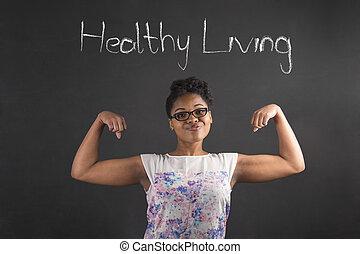 żyjący, kobieta, zdrowy, tablica, herb, tło, afrykanin, silny