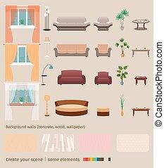żyjący, komplet, pokój, tworzyć, krajowy, scene., własny, elementy, wewnętrzny, dom, twój, meble
