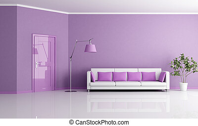 żyjący, lilla, pokój