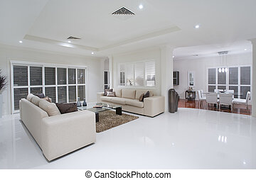 żyjący, luksusowy, jadalne pokoje, tło, stół