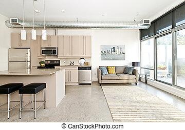żyjący, mieszkanie, nowoczesny pokój, kuchnia