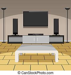 żyjący, nowoczesny pokój