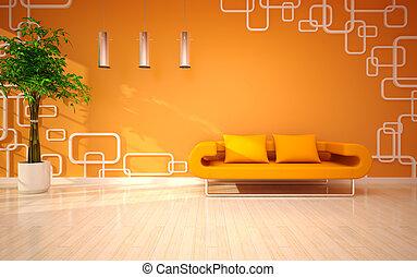 żyjący, nowoczesny pokój, minimalny