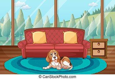 żyjący, pies, pokój