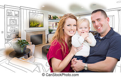 żyjący, rodzinny pokój, kombinacja, fotografia, przód, wojskowy, rysunek