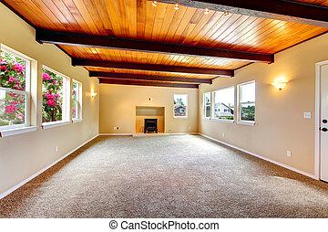 żyjący, sufit, pokój, wielki, drewno, nowy, fireplace., opróżniać