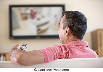 żyjący, telewizja, człowiek, pokój, oglądając