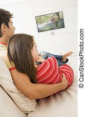 żyjący, telewizja, para, pokój, oglądając