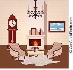 żyjący, wektor, pokój, rocznik wina, ilustracja, świecznik, interior., wewnętrzny, dom, fireplace.