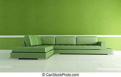 żyjący, zielony, pokój