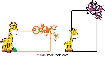 żyrafa, 12, rysunek, copyspace