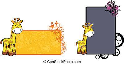 żyrafa, 15, rysunek, copyspace