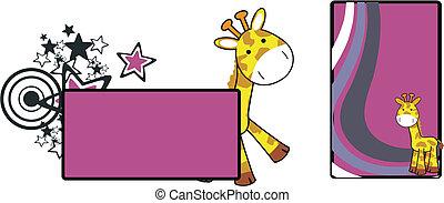 żyrafa, 20, rysunek, copyspace