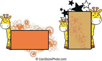 żyrafa, copyspace, rysunek, 17