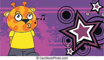 żyrafa, koźlę, rysunek, background5
