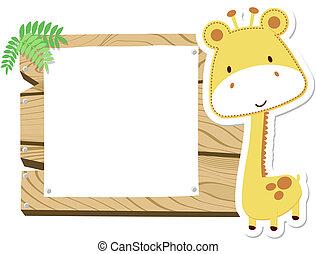 żyrafa niemowlęcia, deska, znak
