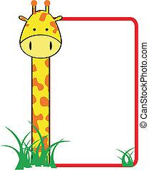 żyrafa, rodzina, copyspace