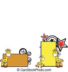 żyrafa, rysunek, copyspace, 14