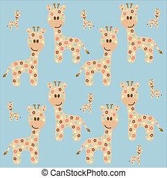 żyrafa, seamless, tło