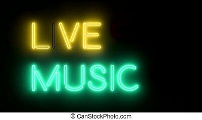 żywa muzyka, neon znaczą, światła, logo, tekst, jarzący się, multicolor