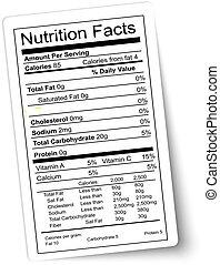 żywienie, vector., tłuszcz, highlighted., label., fakty