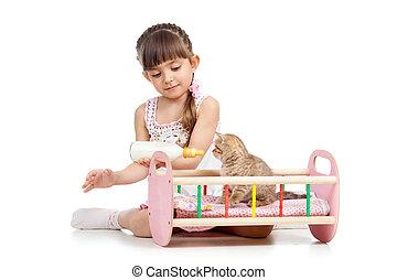 żywieniowy, dziecko, kot, kociątko, dziewczyna, interpretacja