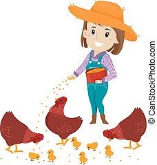 żywieniowy, dziewczyna, ilustracja, wektor, rolnik, karmi, kurczak