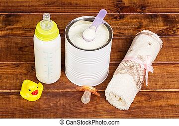 żywieniowy, mleczny, ciemny, pacyfikator, butelka, niemowlę...