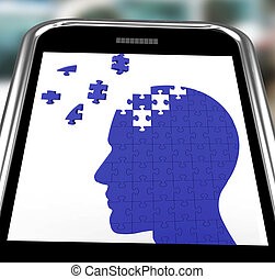 żywość, głowa, smartphone, zagadka, widać