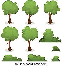 żywopłoty, krzak, drzewa, komplet